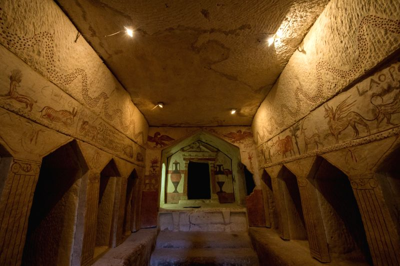 The Apollophanaes Cave is seen at Bet-Guvrin and Maresha National Park, Israel, on June 28, 2014. This was a family tomb. The deceased were placed in niches and ..