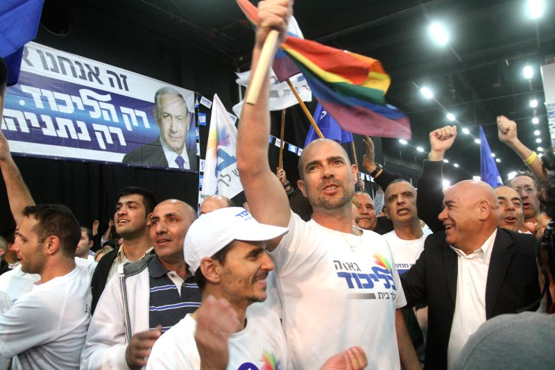 Supporters cheer up after the exit polls' results came out at the Likud Party campaign headquarters in Tel Aviv, Israel, on March 17, 2015. Incumbent Israeli ... - Benjamin Netanyahu