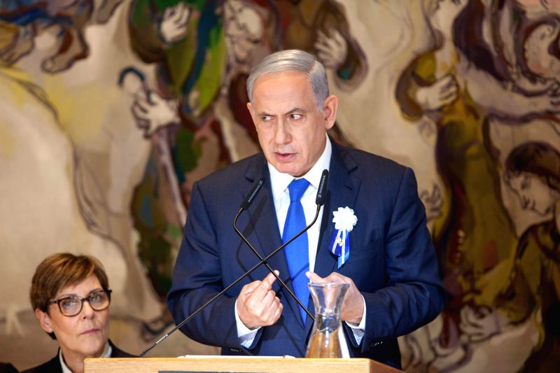 Israeli Prime Minister Benjamin Netanyahu delivers a speech during an event following the first session of the newly-elected Knesset (Israeli parliament) in ... - Benjamin Netanyahu