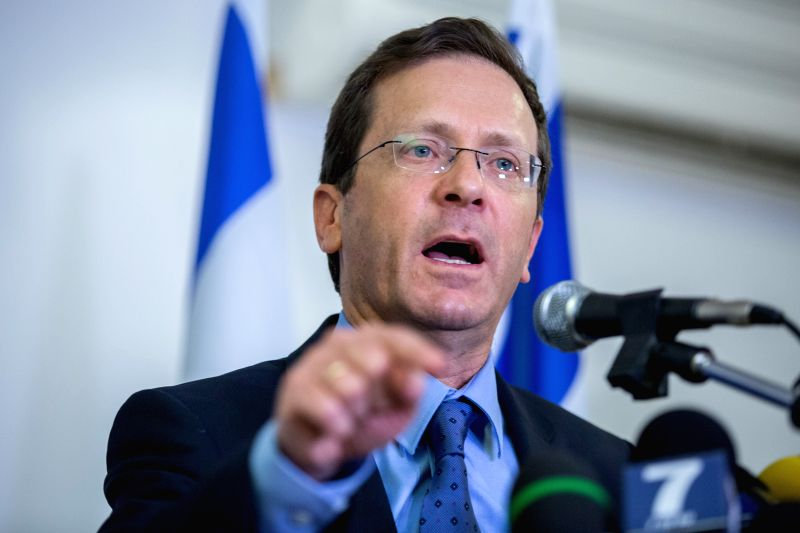 JERUSALEM, May 19, 2016 - Israel's opposition leader Isaac Herzog addresses a press conference in Jerusalem May 18, 2016. Herzog said on Wednesday that he was suspending the talks with Prime Minister ... - Benjamin Netanyahu