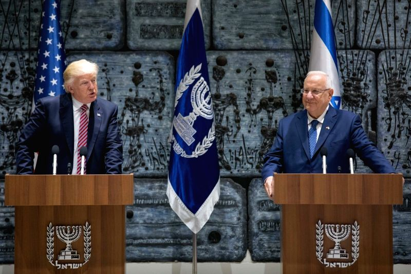 JERUSALEM, May 22, 2017 - U.S. President Donald Trump (L) meets with Israeli President Reuven Rivlin in Jerusalem. May 22, 2017.