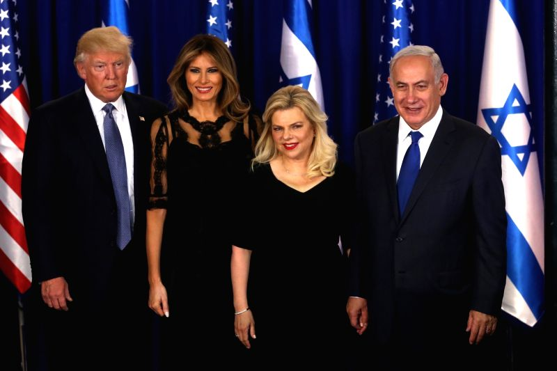 JERUSALEM, May 22, 2017 - U.S. President Donald Trump (1st, L) and his wife Melania Trump (2nd L) pose for photos with Israeli Prime Minister Benjamin Netanyahu (1st, R) and his wife Sara Netanyahu ... - Benjamin Netanyahu
