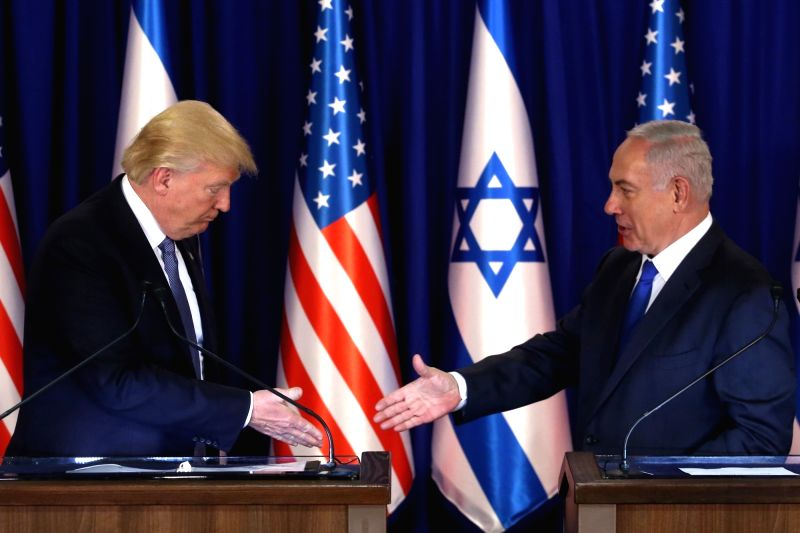 JERUSALEM, May 22, 2017 - U.S. President Donald Trump (L) meets with Israeli Prime Minister Benjamin Netanyahu in Jerusalem, on May 22, 2017. Speaking on the first day of his visit to Israel and the ... - Benjamin Netanyahu