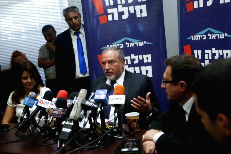 Israeli Foreign Minister Avigdor Lieberman (C) addresses a press conference in Jerusalem, on May 4, 2015. Israeli Foreign Minister Avigdor Lieberman announced on ... - Avigdor Lieberman