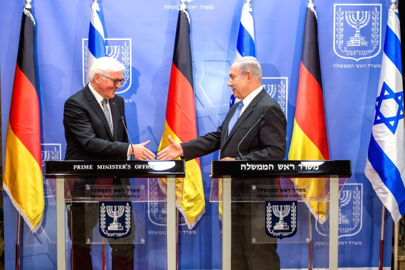 JERUSALEM, May 8, 2017 - Israeli Prime Minister Benjamin Netanyahu (R) and German President Frank-Walter Steinmeier attend a press conference after their meeting in Jerusalem, on May 7, 2017. ... - Benjamin Netanyahu
