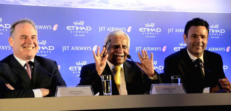 Jet Airways Chairman Naresh Goyal during a press conference with President and Chief Executive Officer of Etihad Airways, James Hogan and Jet Airways Chief Executive Officer Cramer Ball in Mumbai on .