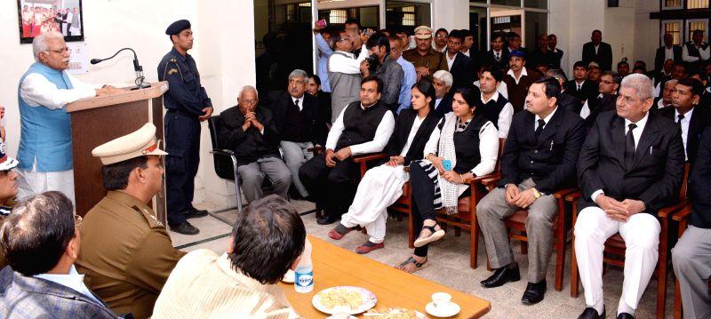Haryana Chief Minister Manohar Lal Khattar addresses advocates in Jhajjar, Haryana on Dec 2, 2014. - Manohar Lal Khattar