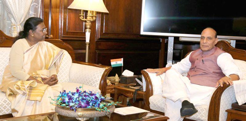 Jharkhand Governor Draupadi Murmu calls on the Union Home Minister Rajnath Singh in New Delhi on Aug 11, 2017. - Rajnath Singh
