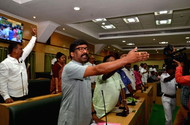 Jharkhand Mukti Morcha (JMM) leader and er of the Opposition Hemant Soren during Jharkhand assembly's monsoon session, in Ranchi on July 17, 2018. The Jharkhand assembly was on Tuesday ...