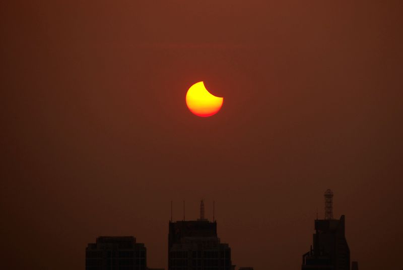 JINAN, Aug. 11, 2018 - Photo taken on Aug. 11, 2018 shows the sun going through a partial solar eclipse in Jinan, capital of east China's Shandong Province.