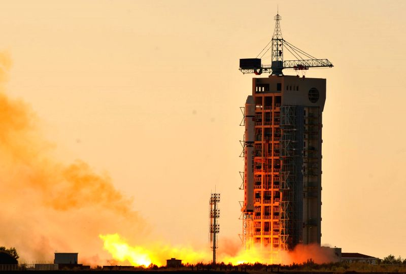 A Long March-2D carrier rocket carrying Chuangxin-1-04 blasts off from the launch pad at the Jiuquan Satellite Launch Center in northwest China's Gansu Province, ...