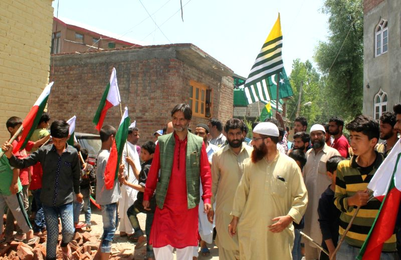 JLKF chairman Muhammad Yasin Malik leads a rally in Noon Bagh area of Srinagar on June 4, 2017. - Malik