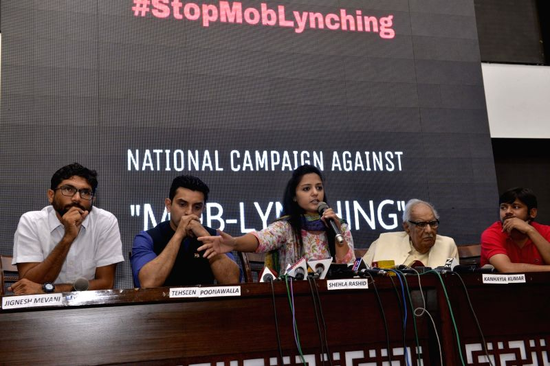 JNU student leader Shehla Rashid addresses during a programme organised to launch National Campaign against Mob-lynching in New Delhi, on June 5, 2017. Also seen JNU student leader ... - Kanhaiya Kumar