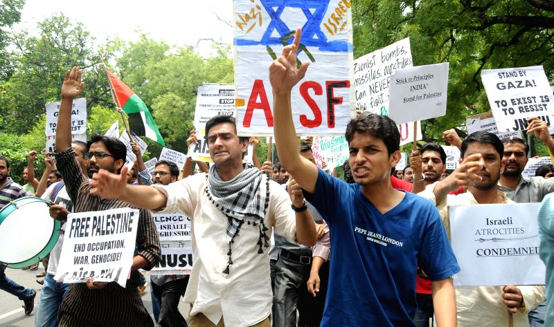 JNU students demonstrate in front of Israeli Embassy in New Delhi against Israeli attacks on Gaza on July 14, 2014.