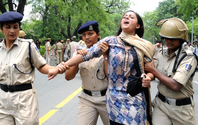 JNU students demonstrate in front of Israeli Embassy in New Delhi against Israeli attacks on Gaza on July 14, 2014.