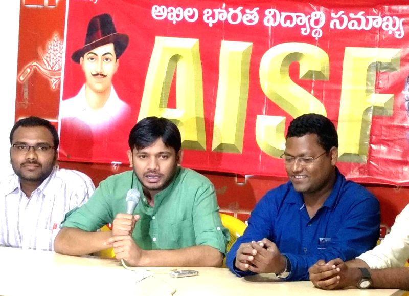 JNUSU President Kanhiya Kumar addresses during an AISF programme in Hyderabad on July 31, 2016. - Kanhiya Kumar