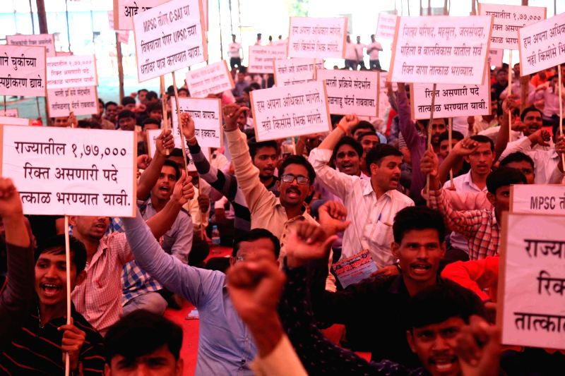 Job aspirants stage a demonstration to press for their demands at Azad Maidan in Mumbai on March 13, 2018.