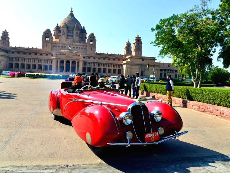 A vintage car parked at the Umaid Bhawan Palace in Jodhpur, on Dec 30, 2014.