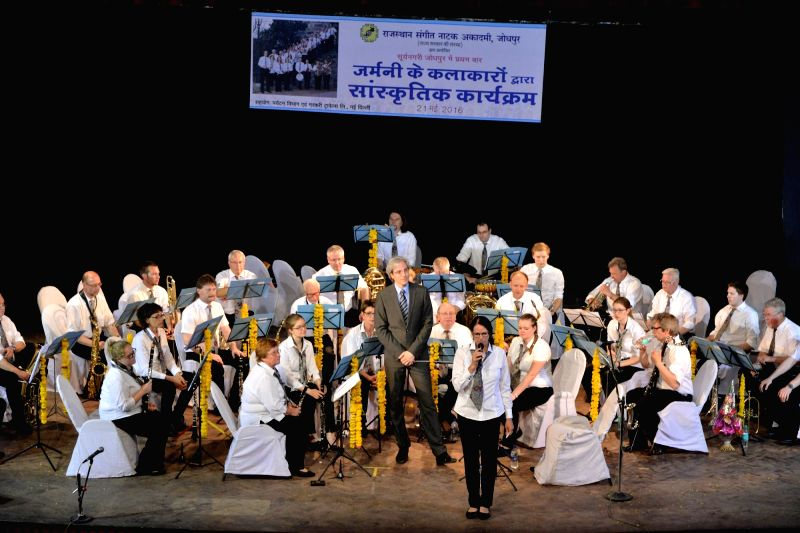Jodhpur: German artists perfom during a musical programme in Jodhpur on May 21, 2016.