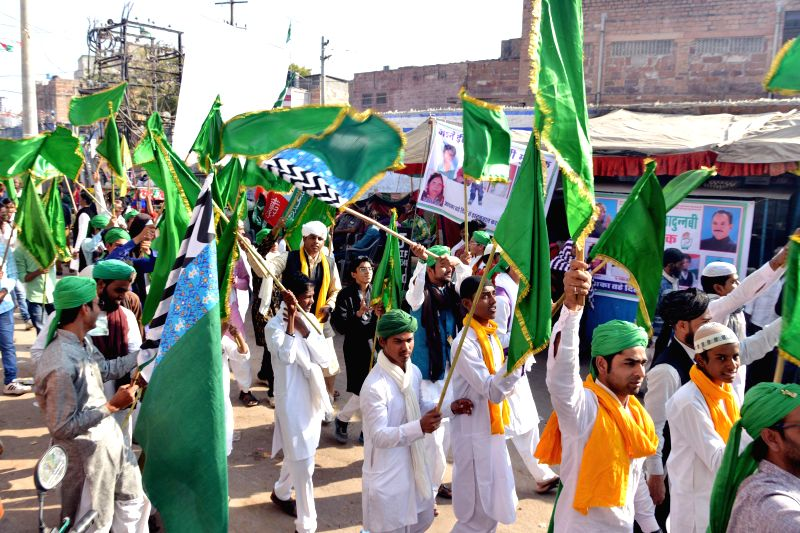 Muslims participate in a procession organised on  Eid Milad-un-Nabi - Prophet Mohammad's birthday in Jodhpur, on Jan 4, 2015.