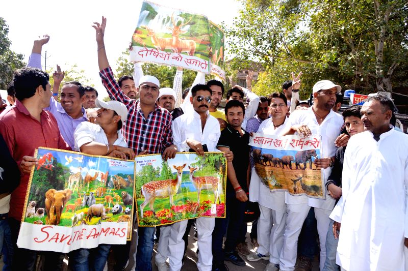 People from Bishnoi community stage a demonstration against actor Salman Khan for his alleged involvement in black buck poaching case in Jodhpur, on Feb 25, 2015.