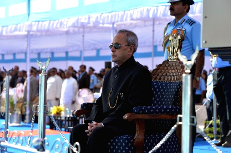 President Pranab Mukherjee during a programme organised to present the presidential standards to 21 SQN and 116 HU of Indian Air Force in Jodhpur, on March 4, 2015. - Pranab Mukherjee