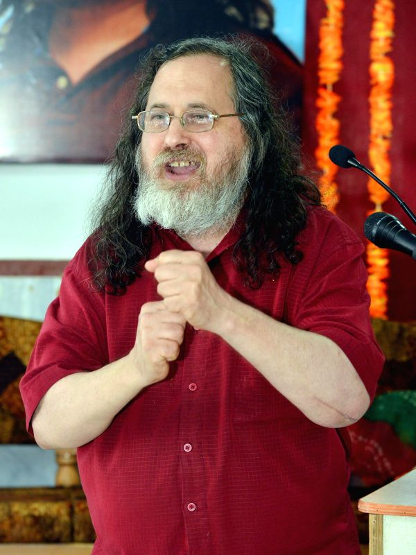 Software freedom activist and computer programmer Richard Stallman addresses during a programme organised by the Computer Department of Maulana Azad University Jodhpur on Dec 16, 2014.