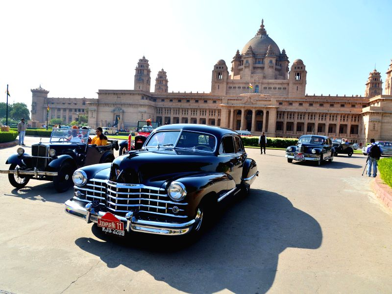 Vintage cars parked at the Umaid Bhawan Palace in Jodhpur, on Dec 30, 2014.
