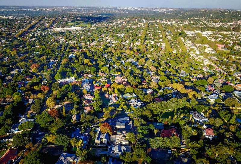 JOHANNESBURG, April 21, 2017 - Photo taken on April 20, 2017 shows an aerial view of Houghton, north of Johannesburg, South Africa. The City of Johannesburg Local Municipality, situated in the ...