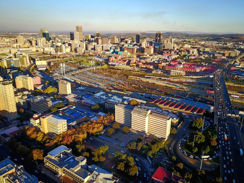 JOHANNESBURG, April 21, 2017 - Photo taken on April 20, 2017 shows an aerial view of Johannesburg Town, South Africa. The City of Johannesburg Local Municipality, situated in the northeastern part of ...