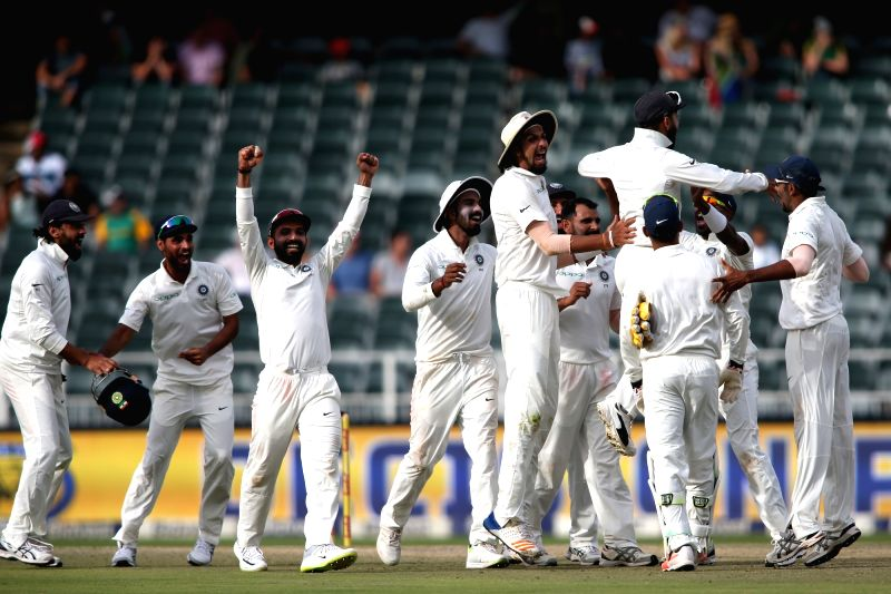 :Johannesburg: India cricketers celebrate after winning the third test against South Africa on Day 4 of the third Test match between South Africa and India at the Wanderers Stadium in Johannesburg, ...