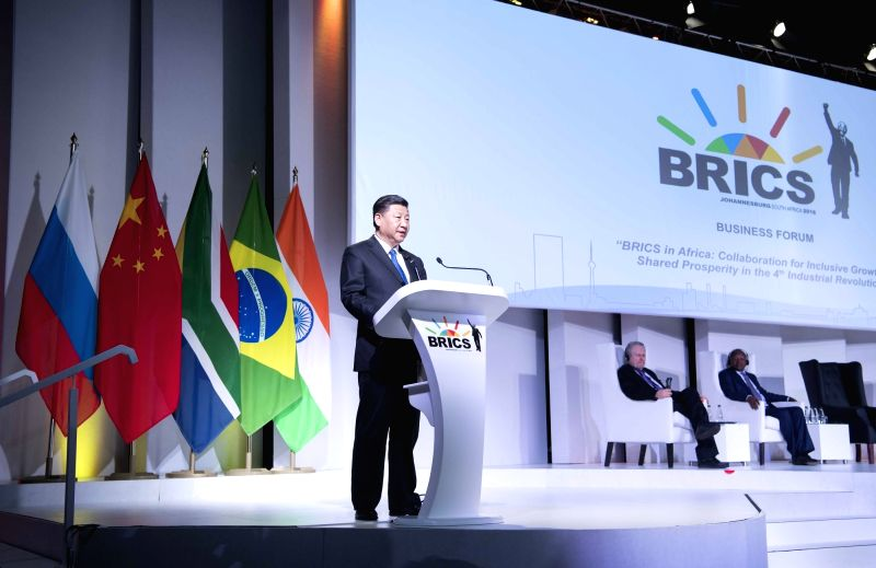 "JOHANNESBURG, July 25, 2018 - Chinese President Xi Jinping delivers a speech titled ""Keeping Abreast of the Trend of the Times to Achieve Common Development"" at the BRICS Business Forum in ..."