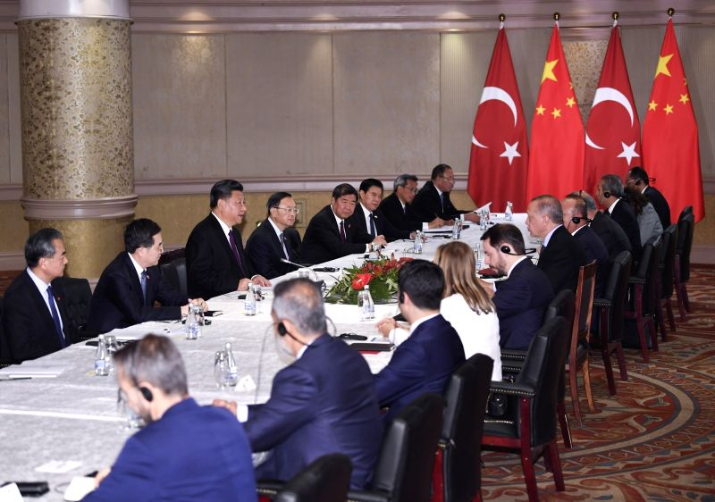 JOHANNESBURG, July 26, 2018 - Chinese President Xi Jinping meets with his Turkish counterpart Recep Tayyip Erdogan in Johannesburg, South Africa, July 26, 2018.