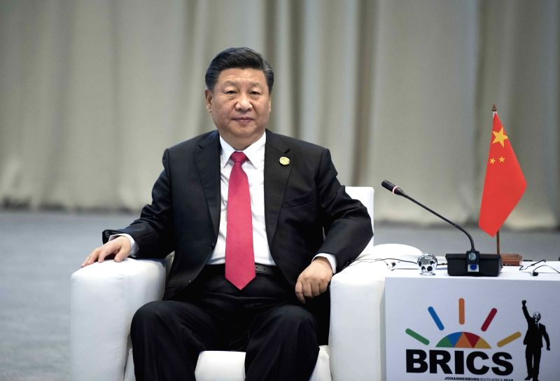 JOHANNESBURG, July 27, 2018 - Chinese President Xi Jinping attends an informal meeting to commemorate the 10th anniversary of the BRICS mechanism in Johannesburg, South Africa, July 27, 2018.