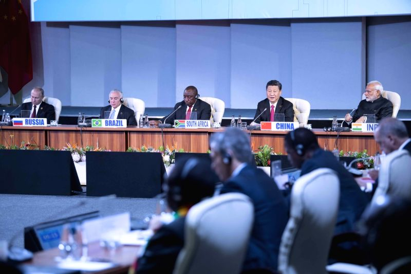 "JOHANNESBURG, July 27, 2018 - Chinese President Xi Jinping makes a speech to an outreach dialogue grouping leaders from the BRICS, the ""BRICS Plus"" and African countries at the 10th BRICS ..."