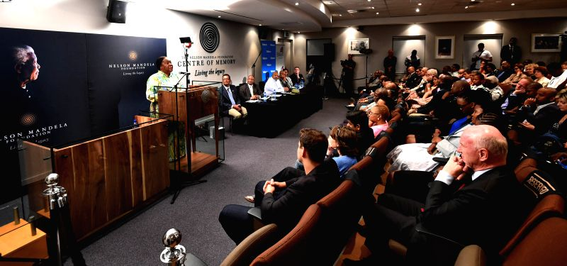 Johannesburg (South Africa): South Africa's Science and Technology Minister Naledi Pandor speaks at the opening ceremony of the Nelson Mandela Condolence Books Exhibition at the Nelson Mandela Centre - Naledi Pandor