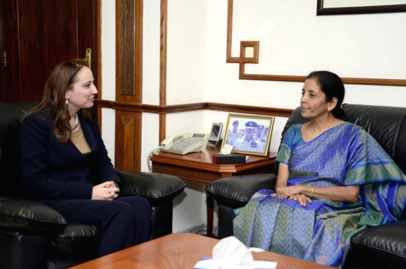 The Minister of State for Commerce and Industry (Independent Charge) Nirmala Sitharaman meets the Minister of Industry, Trade and Supply, Jordan, Maha Ali, in Jordan on March 30, 2015.