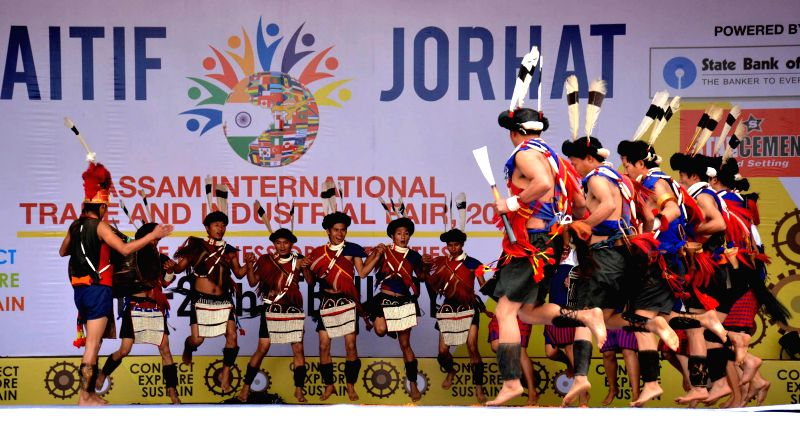 Artists from Nagaland perform during a cultural programme organised on the inaugural day of Assam International Trade and Industrial Fair (AITIF) in Jorhat, on Feb 19, 2015.