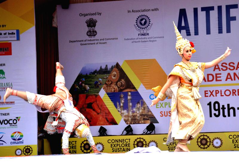 Artists from Thailand perform during a cultural programme organised on the inaugural day of Assam International Trade and Industrial Fair (AITIF) in Jorhat, on Feb 19, 2015.