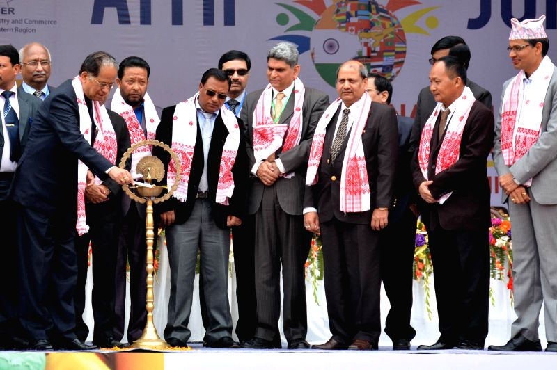 Assam Chief Minister Tarun Gogoi with international delegates at the inauguration of Assam International Trade and Industrial Fair (AITIF) in Jorhat, Assam  on Feb 19, 2015. - Tarun Gogoi