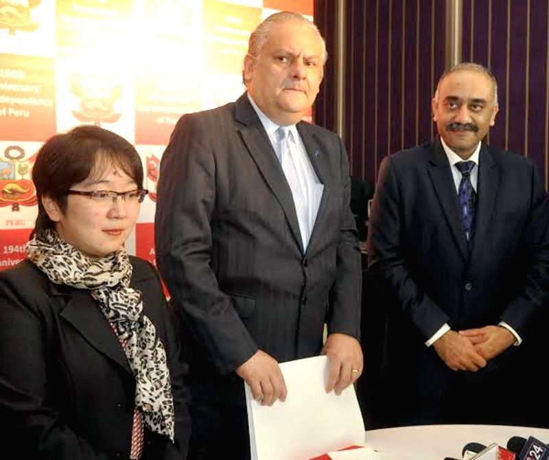 Jose J Gbetancourt Ambassador of the Republic of Peru to India and Annemaeda Embassy of Peru and Vikram Viswanath Honorary consul of The Republic of Peru during a press conference on the ...