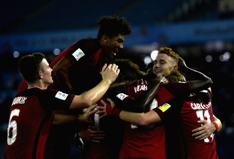Josh Sargent of USA celebrates with team mates after scoring a goal during a FIFA U-17 World Cup 2017 Group A match between India and USA at Jawaharlal Nehru Stadium in New Delhi, on Oct ...