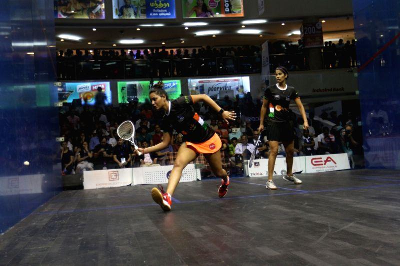 Joshna Chinappa and Dipika Pallikal Karthik of India in action during 19th Asian Squash Championships in Chennai on April 30, 2017.