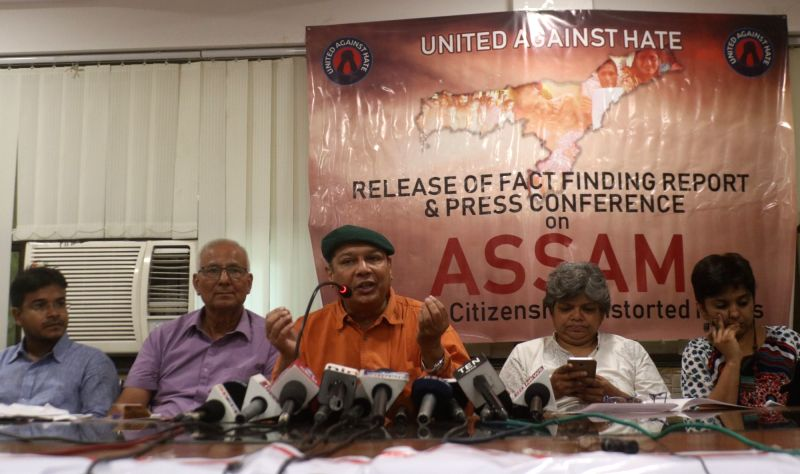 Journalist Amit Sengupta, Retired IPS officer S.R. Darapuri, Kavita Shrivastav and others during a press conference organised to release a United Against Hate report on National Register ...
