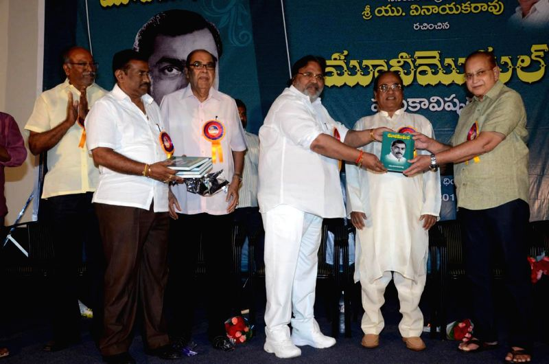 Journalist U Vinayaka Rao wrote a book on Producer D Rama Naidu titled Movie Moghul at Prasad Labs in Hyderbad on Friday 15 Aug, 2014. - U Vinayaka Rao and D Rama Naidu