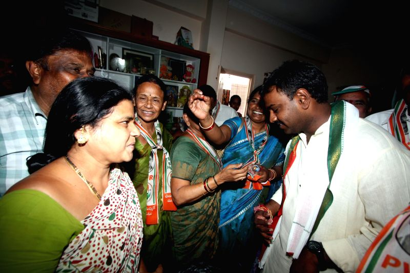 Jubilee Hills legislator Vishnuvardhan Reddy during an election campaign in his constituency, in Hyderabad on April 13, 2014.