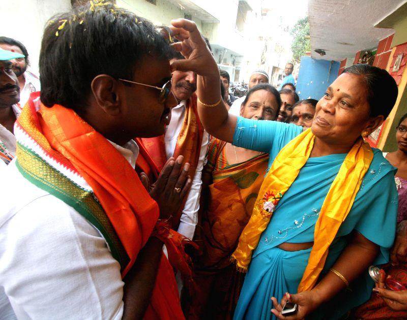 Jubilee Hills legislator Vishnuvardhan Reddy during an election campaign in Hyderabad on April 21, 2014.