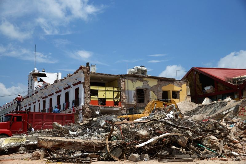 JUCHITAN (MEXICO), Sept. 10, 2017 A building collapse site is seen after an earthquake hit in Juchitan, Oaxaca state, Mexico, Sept. 9, 2017. A powerful earthquake measuring 8.2 on the ...