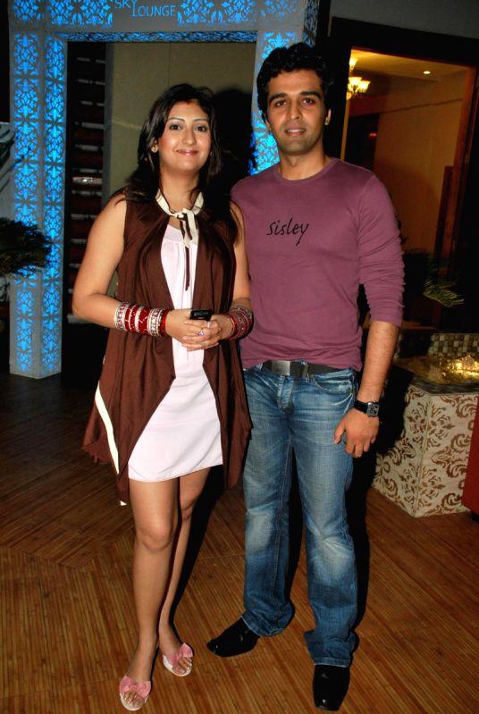 """Juhi Parmar with Sachin Sharma at the success bash of """"Yeh Chanda Kanoon Hain""""."""