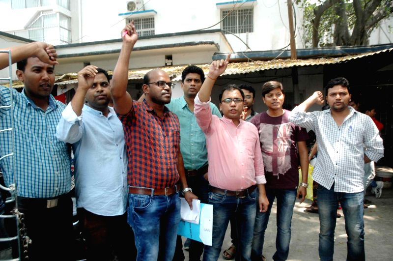Junior doctors stage a protest to press for their demands in Patna on May 24, 2017.